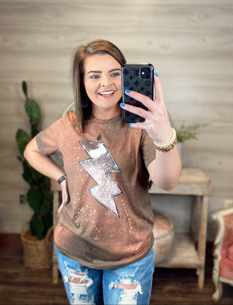 Crazy Consuela Cowhide Lightening Bolt Bleached Graphic Tee