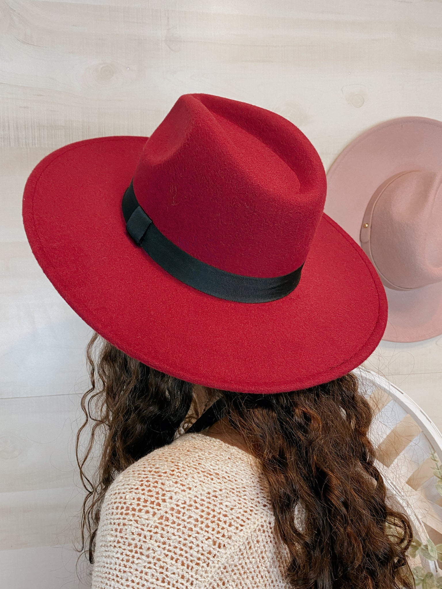 Plumberry Burgundy Fedora Hat with Black Band