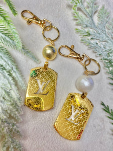 Vintage LV Printed Keychain With Gold & White Pearl