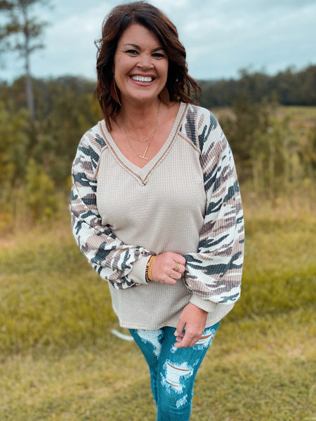 Havana Honey Taupe Waffle Knit Camo V Neck Long Sleeve Top Curvy & Regular