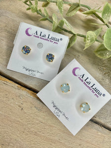 8mm A La Luna Stud Earrings