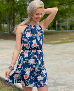 French Navy Floral Tiered Dress - Jessi Jayne Boutique