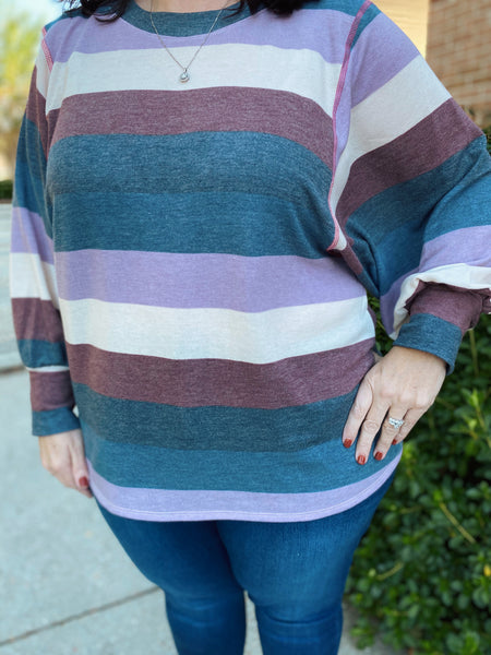 Walk This Way Multi Striped Long Sleeve Curvy Top