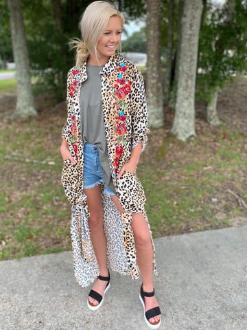 Leopard Gypsy Button Down Kimono Dress - Jessi Jayne Boutique