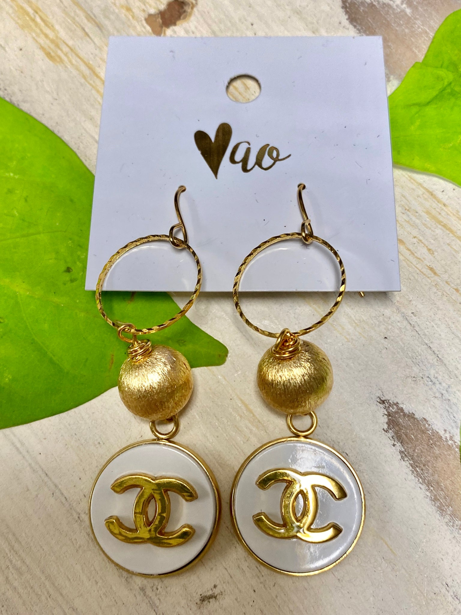 Vintage Chanel Button Hook Earrings With Gold Ball & White & Gold Button
