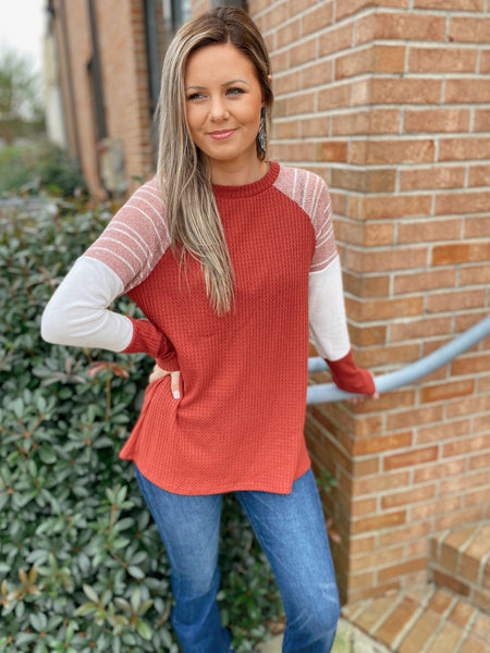 Nice Try Rust Long Sleeve Waffle Knit Top