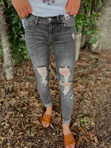 Rocky Gray Distressed Skinny Jeans - Jessi Jayne Boutique