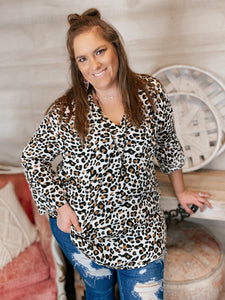 Keep Up Curvy Tab-Up Sleeves Blouse