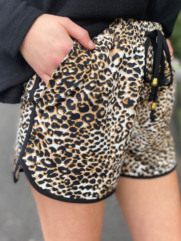 Leopard Athletic Shorts With Pockets