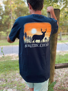 Buck Silhouette Navy Pocket Short Sleeve Mens Tee
