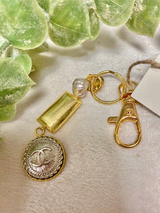 Vintage Chanel Silver and Gold Button Keychain with Gold Bar