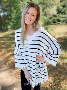 Stay Up Late Black and White Stripe Distressed Detail Top