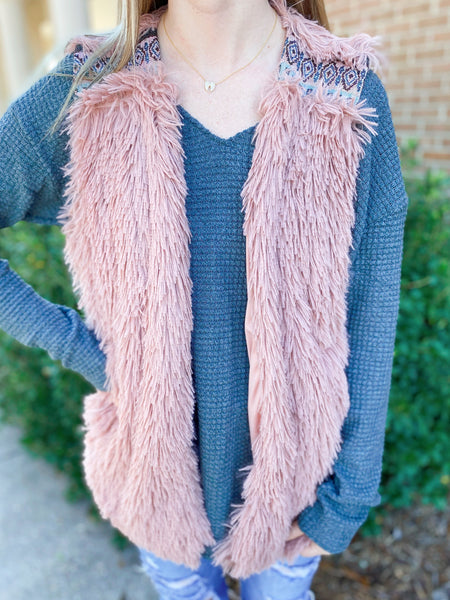 You're Spicy Indian Pink Jacquard Faux Fur Tribal Print Vest