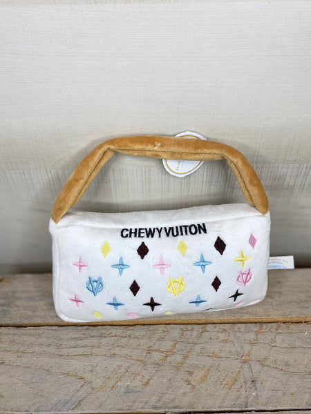 White Chewy Vuiton Handbag Squeaky Dog Toy