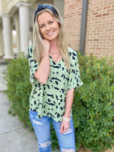Ready To Run Green V Neck Printed Blouse
