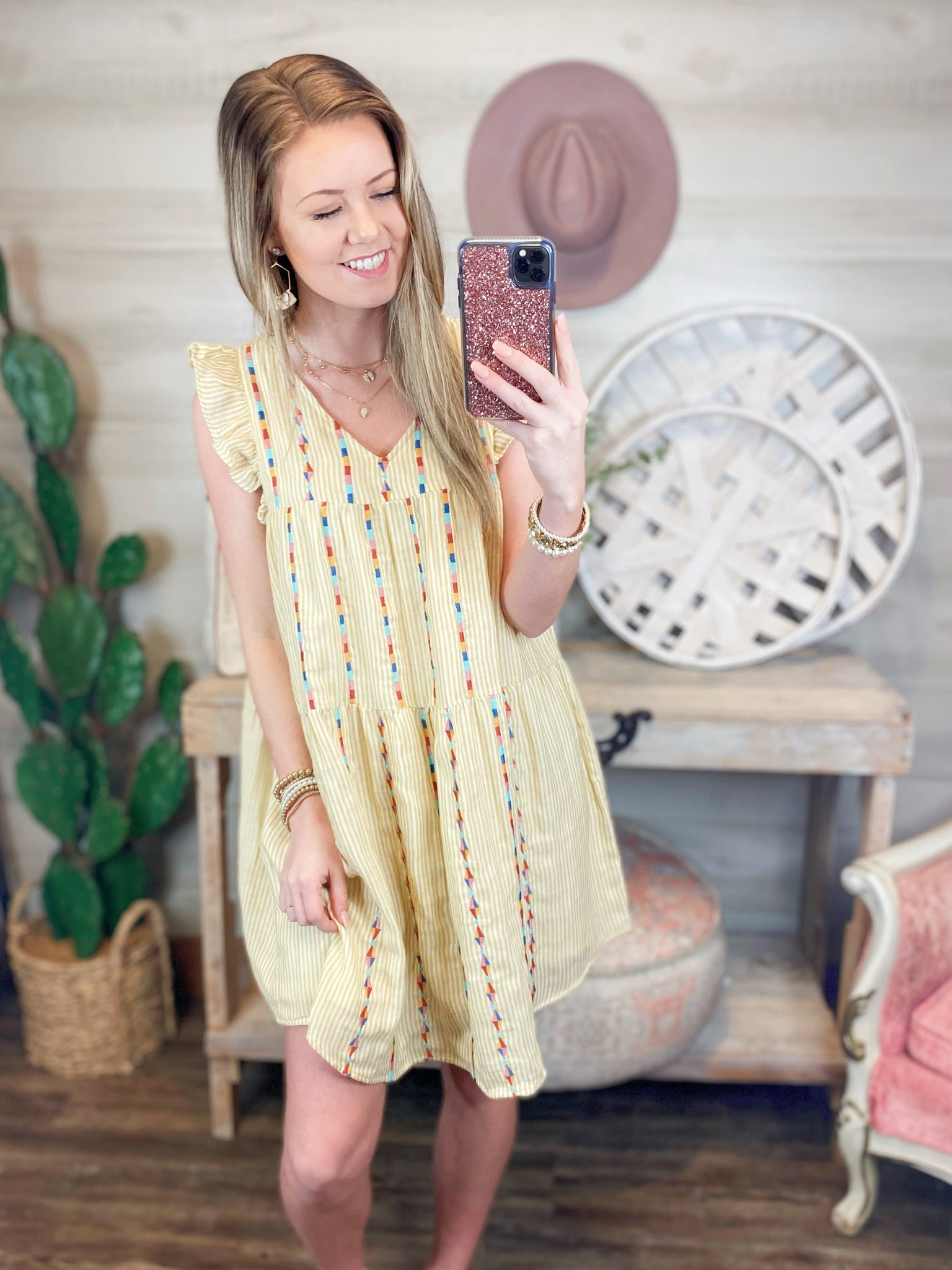 Here Comes the Sun Embroidery Sleeveless Dress