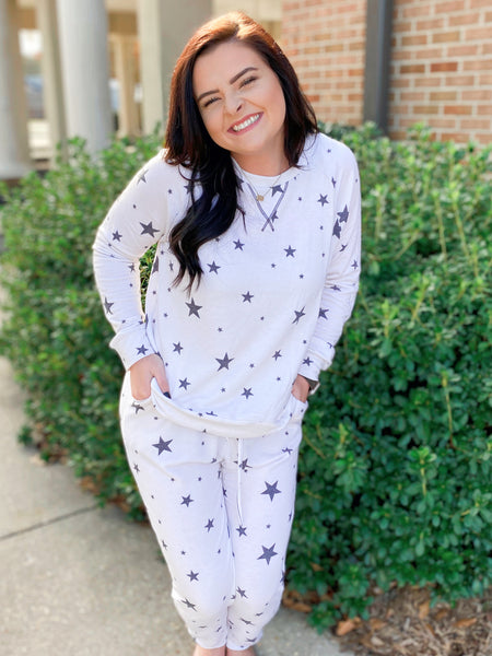 Starry Night Sky Ivory and Black Star Printed Joggers (Reg&Curvy)