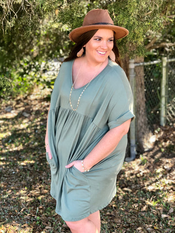 Devoted Army Green Tunic/Dress Curvy Ladies - Jessi Jayne Boutique