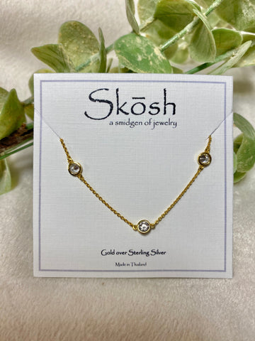 Skosh Gold 16+1 Stone Necklace