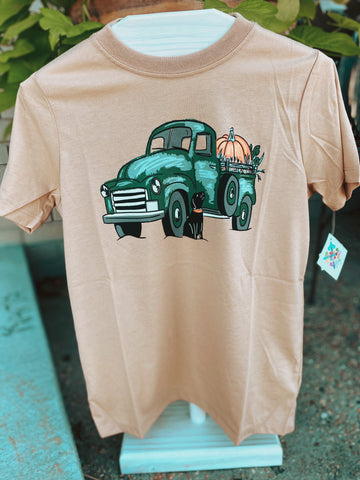 Kids Fall Pumpkin Truck with Dog Graphic Tee