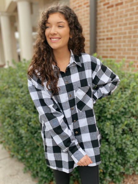 Over The Edge Black and White Flannel Shirt (REG & Curvy)