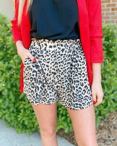 Loving Soul Taupe Leopard Flowy Shorts
