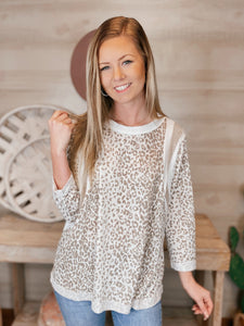 Snow Leopard 3/4 length Sleeve Color Block Top