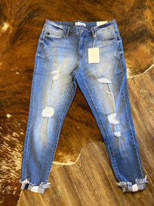 The Classic Love Story Mid Rise Super Skinny Curvy Distressed Jean