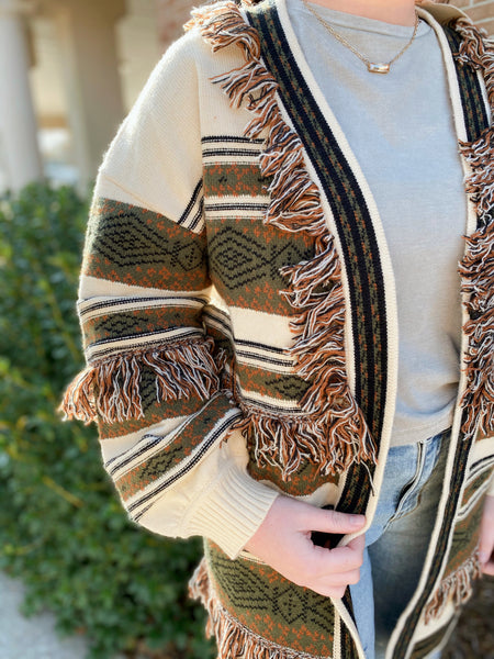 Rock The Runway Cream/Olive Aztec Print Sweater Cardigan With Fringe