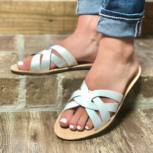 Feelin' Beachie White Cross Over Sandals - Jessi Jayne Boutique