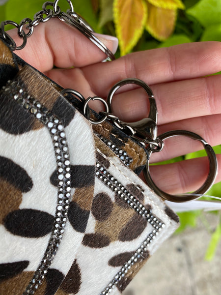 Brown or Beige Leopard Keychain