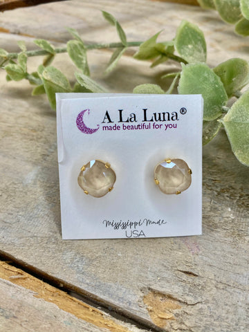 Sand 12mm A La Luna Stud Earrings