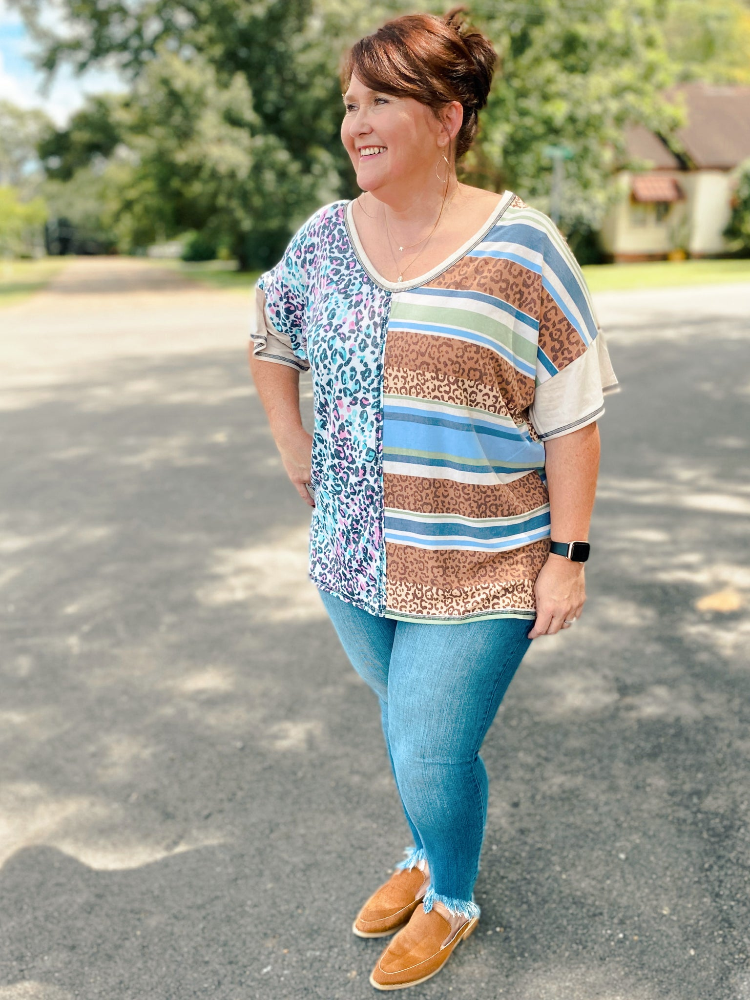 Spirit Animal Printed Curvy Short Sleeve Top