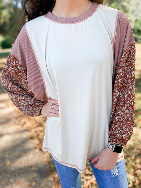 Blossoms & Besties Ivory Bubble Sleeve Floral Top