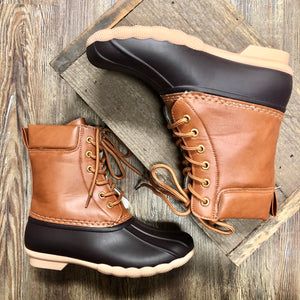 Brown Lace Up Duck Booties