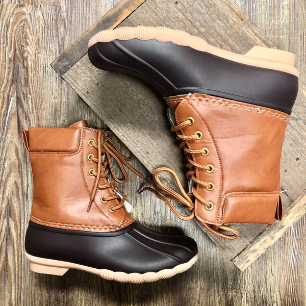 Brown Lace Up Duck Booties - Jessi Jayne Boutique