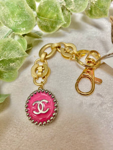 Vintage Chanel Hot Pink Button Gold Chain Keychain
