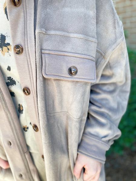 Crushed Clover Taupe Button Down Long Sleeve Jacket Top