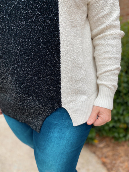 Misfit Right In Black and White Color Block Curvy Sweater