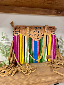 American Darling Multi Stripe Fringe Tool Leather Purse