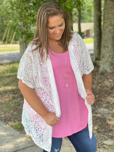 White Winged Dove Lace Curvy Kimono - Jessi Jayne Boutique
