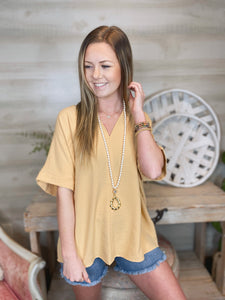 Lost Without You Honey Mustard V Neck Blouse