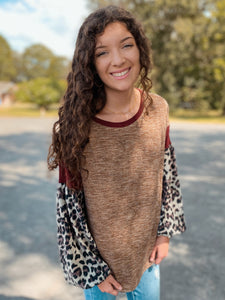 Tuscan Winds Leopard Long Sleeve Top