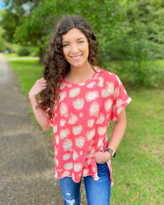 Ready To Roll Bright Coral Animal Print Top (Reg&Curvy)