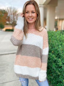 Into The A-Bliss Mauve Multi Striped V Neck Sweater