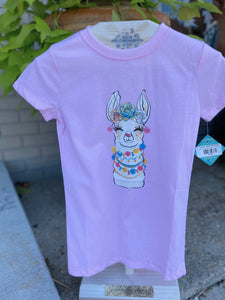 Pink Lama Kids Graphic Tee