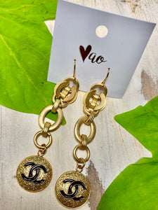 Long Gold Chain Vintage Chanel Button Chain Hook Earrings