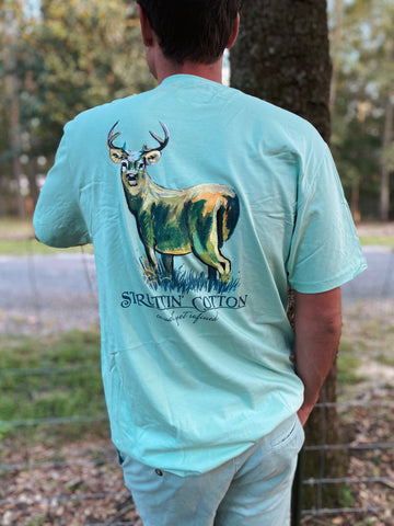 Majestic Morning Green Tea Deer Men's Shirt