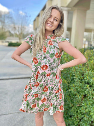 Flirty At Heart Peach Floral Ruffle Dress