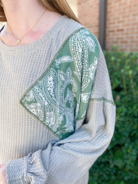 Pretty In Paisley Sage Printed Patchwork Waffle Knit Long Sleeve Top